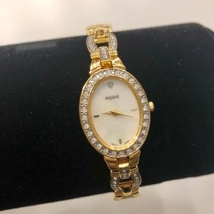 Pulsar gold watch with CZ accent